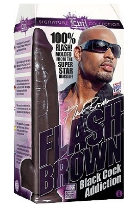 Icon Brands Flash Brown Black Cock Addiction 12""