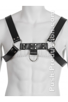 Push Top Harness Leather BDSM  Black